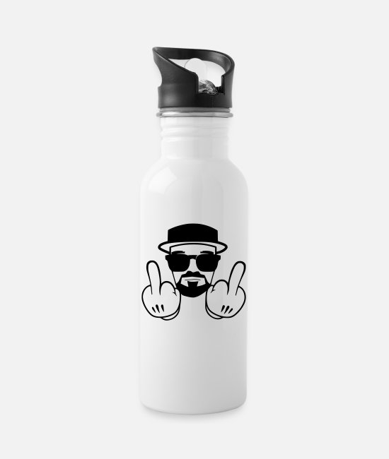 Gangsta Mugs & Drinkware - middle finger - Water Bottle white