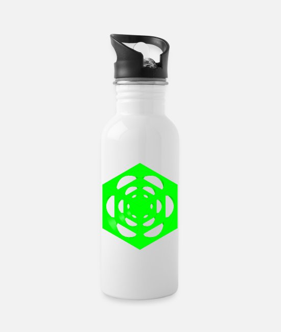 Geometry Mugs & Drinkware - dice in the cube plain green - Water Bottle white