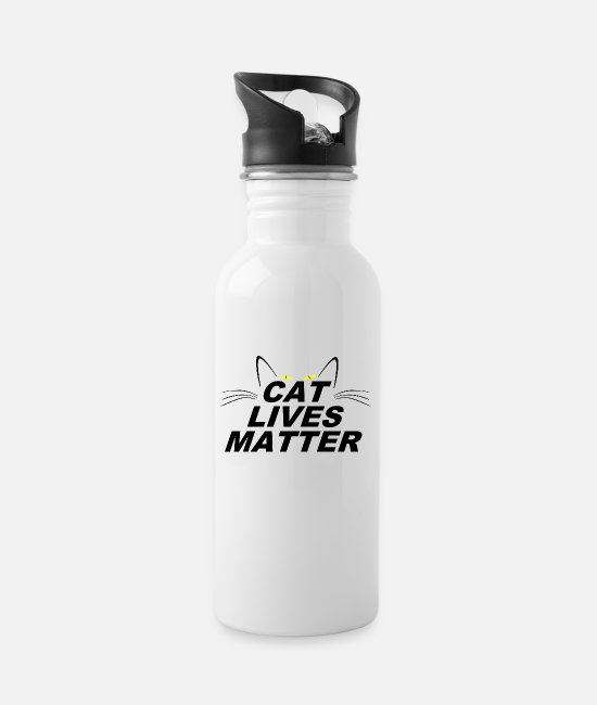 Grumpy Lives Matter Mugs & Drinkware - CAT LIVES MATTER - Water Bottle white