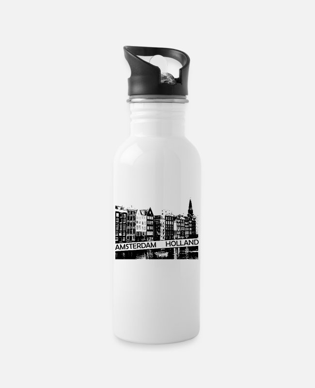 Travel Bug Mugs & Drinkware - Amsterdam Canal, houses and boat Holland - Water Bottle white