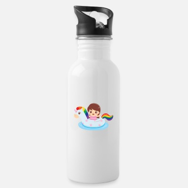 Swimming Mane Cute Girl in Unicorn Float - Water Bottle