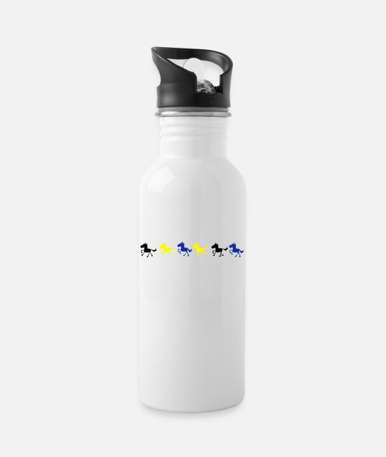 Ride A Horse Mugs & Drinkware - galloping horse colorful - Water Bottle white