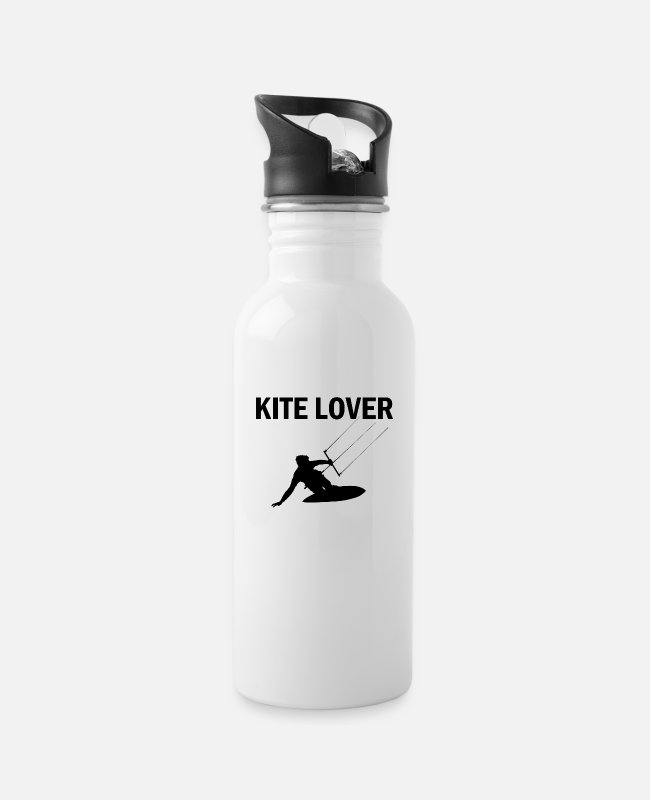 Water Mugs & Drinkware - Kite Lover font with a motif - Water Bottle white