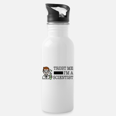 Trust me I'm a scientist male white - Water Bottle
