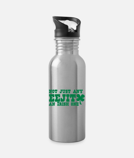 Beers Mugs & Drinkware - NOT JUST any EEJIT and Irish one! shamrock - Water Bottle silver
