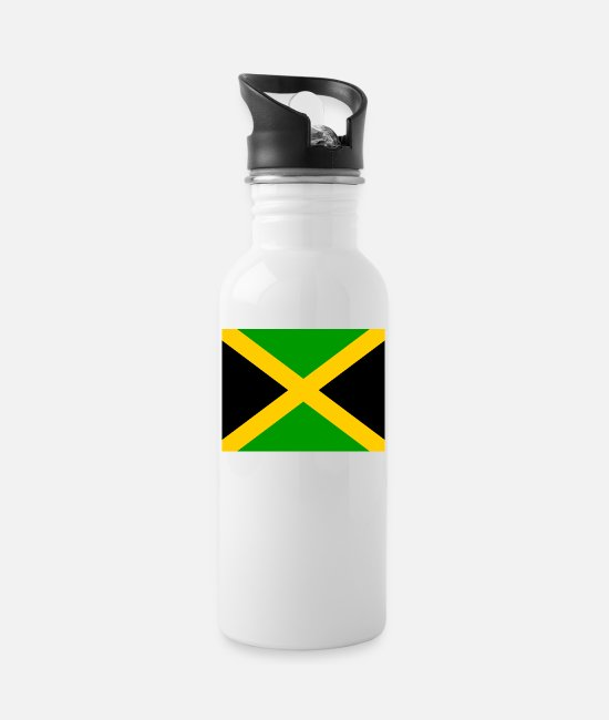 Country Sign Mugs & Drinkware - I jm flag png black 531901dfe61ce470a4f2953b7ad949 - Water Bottle white