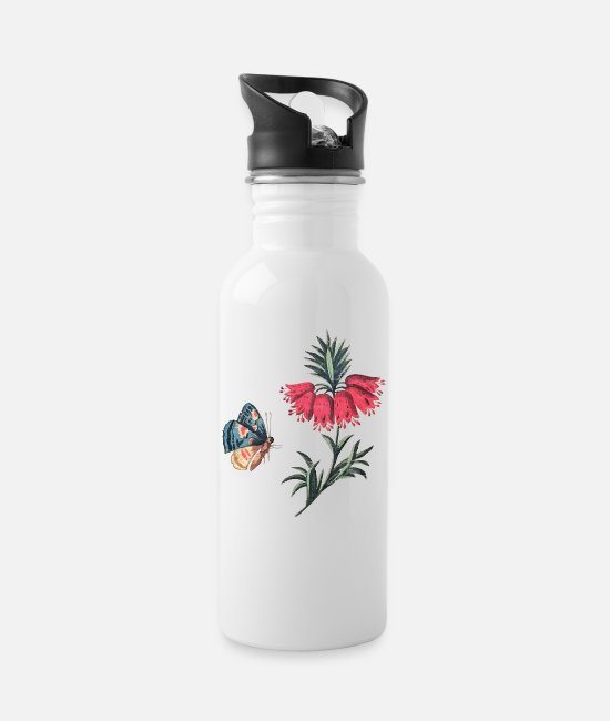 Red Mugs & Drinkware - Flying butterfly with flowers - Water Bottle white