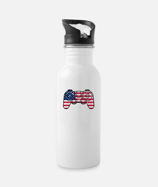 Independence Day Quotes Mugs & Drinkware - Independence Day American Flag Gamepad Controller - Water Bottle white