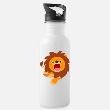 Cute Frisky Cartoon Lion by Cheerful Madness!! - Water Bottle