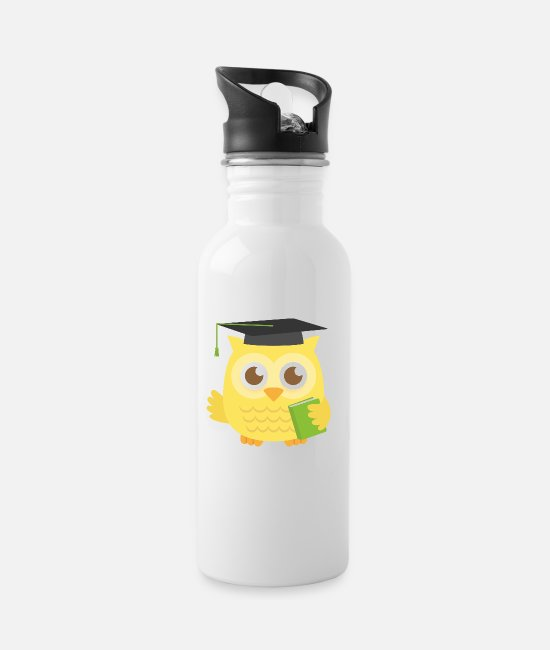 Read Mugs & Drinkware - Cute Graduate Owl with Book - Water Bottle white