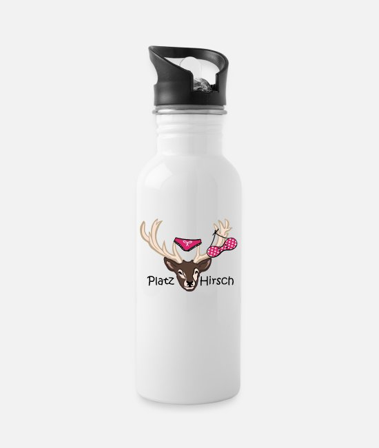 Stag Mugs & Drinkware - Square deer gift idea macho birthday - Water Bottle white