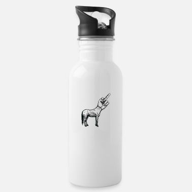 Hipster Unicorn Middle Finger Nerd - Trinkflasche