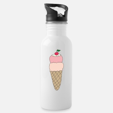 Ice cream with cherry - Water Bottle
