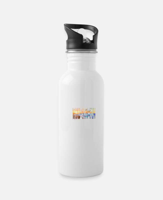 Wind Mugs & Drinkware - WIND + SUN = FUN kiter - Water Bottle white