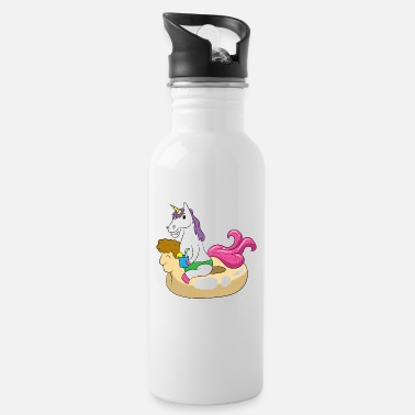 Swimming Mane Unicorn enjoys the sun on a swimming ring - Water Bottle