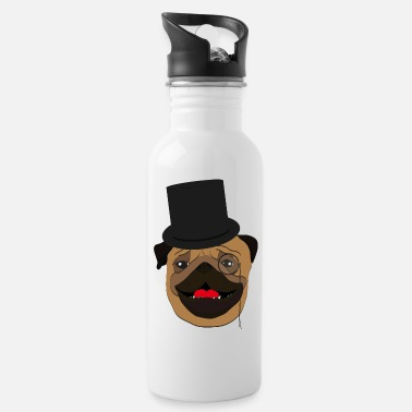 Wealthy The wealthy Pug - gift idea, monocle - Water Bottle