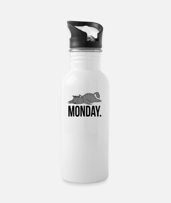 Lazy Mugs & Drinkware - Cat Monday saying geek work laziness gift - Water Bottle white