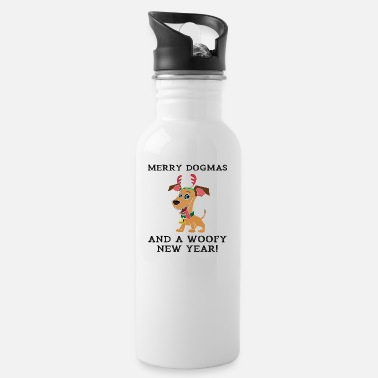 Woofy Merry Dogmas And A Woofy New Year Cute Dog Owner - Water Bottle