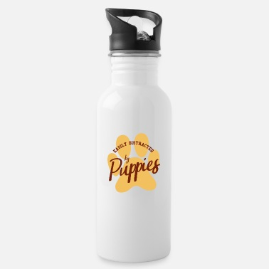 Male Puppy Dog Puppy Easily distracted by puppy puppies dog gift - Water Bottle