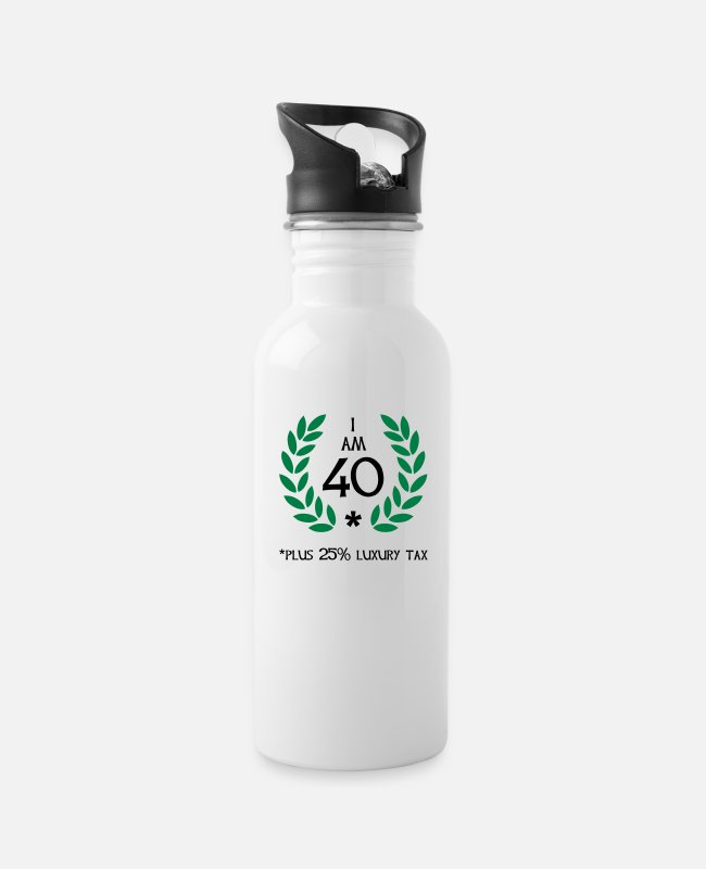 Fun Quote Age Year Mugs & Drinkware - 50 - 40 plus tax - Water Bottle white