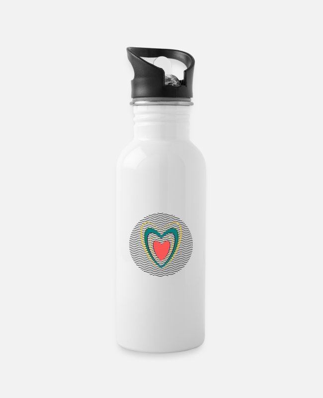 Festival Mugs & Drinkware - HEART. HEARTS. HEART. KISS. SMACK. KISSES. - Water Bottle white