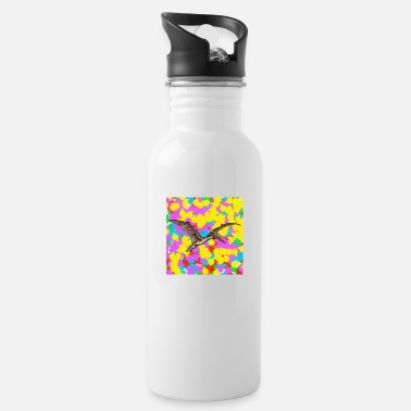 Funky Pterosaur Pop Colour Tie Dye Background Cool Indie - Water Bottle