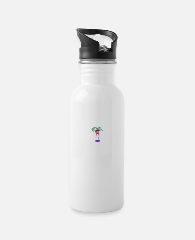 Art Mugs & Drinkware - Minimalist Plant Design - Water Bottle white
