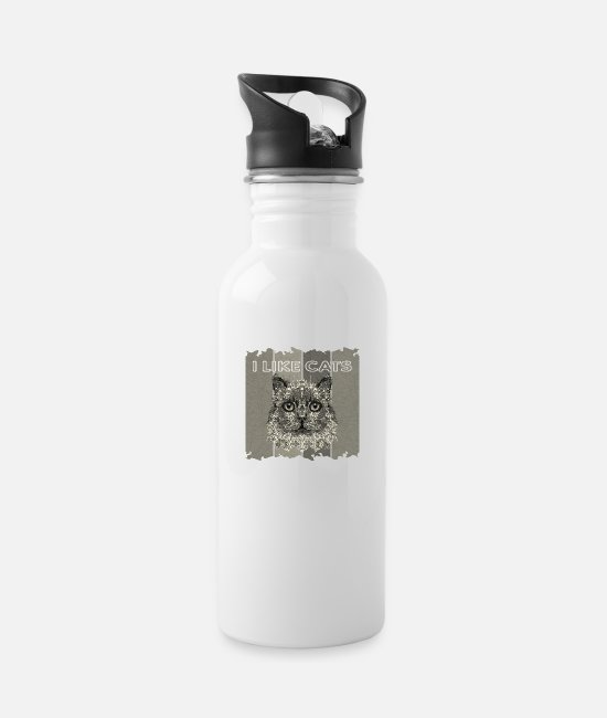 The Best Of Mugs & Drinkware - Cat - Water Bottle white