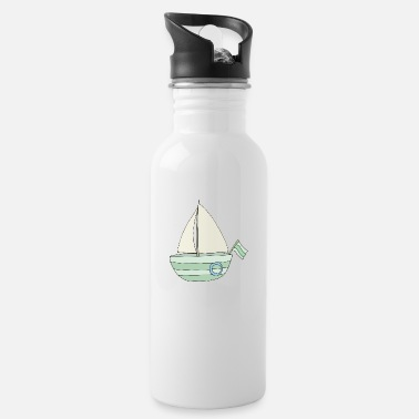 sailboat turquoise - Water Bottle