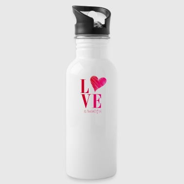 love is beautiful Herz typo pink versprechen ehe - Trinkflasche