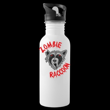 Funny cute scary zombie raccoon Red Edit - Water Bottle