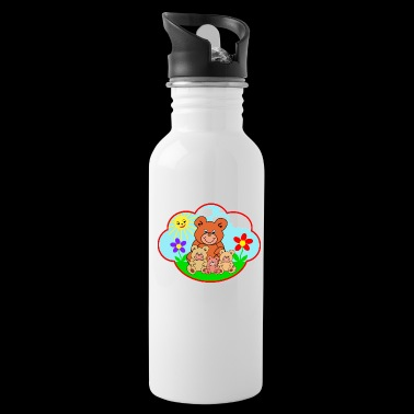 Four funny teddy bears on the meadow gift - Water Bottle