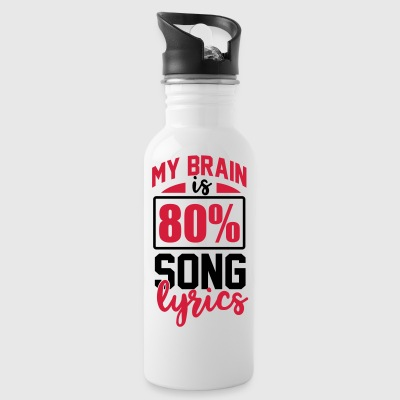 My Brain is 80% song lyrics music singing vocals - Water Bottle