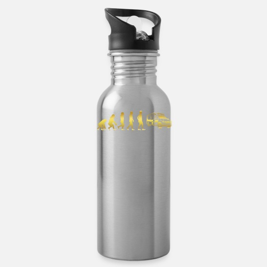 Love Mugs & Drinkware - evolution human ekg heartbeat ambulance ambulance - Water Bottle silver