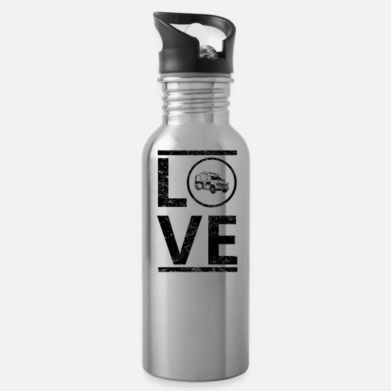 Love Mugs & Drinkware - love calling king hobby master ambulance ambul - Water Bottle silver