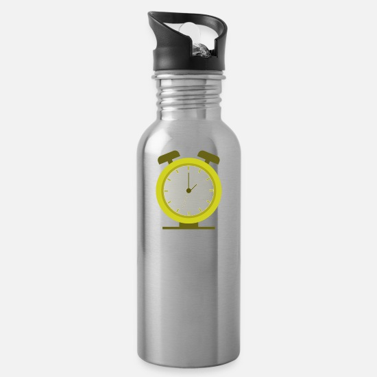 Alarm Mugs & Drinkware - alarm clock - Water Bottle silver