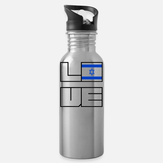 Eu Mugs & Drinkware - Love home roots Roots Israel - Water Bottle silver