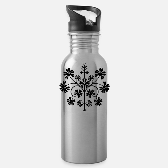 Floral Mugs & Drinkware - Floral - Water Bottle silver