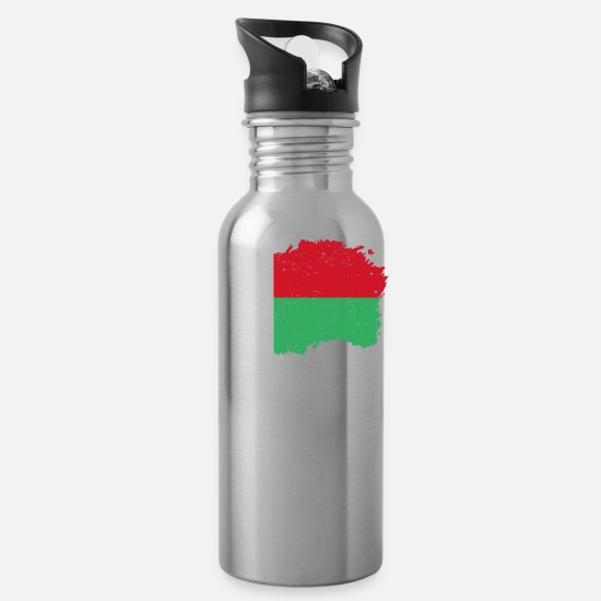 Love Mugs & Drinkware - Roots roots flag homeland country Madagascar png - Water Bottle silver