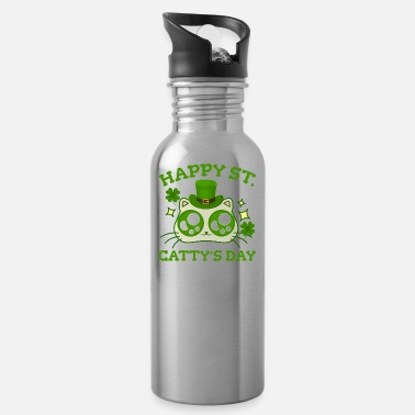 St Patricks Day Happy St. Catty's Day St Patricks Funny Cat Clover - Water Bottle