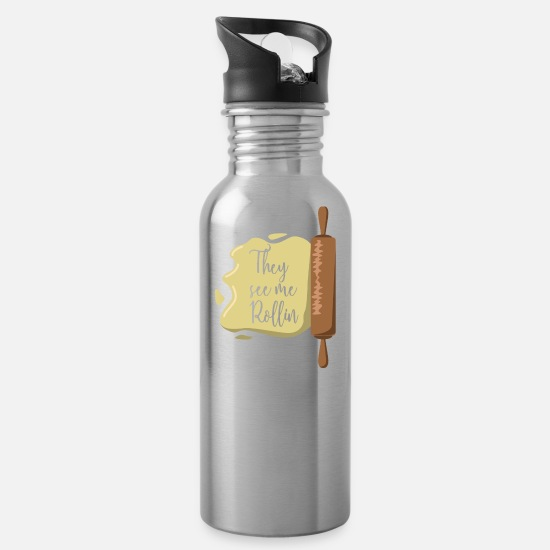 Gift Idea Mugs & Drinkware - Baking baker dough gift idea rolling pin - Water Bottle silver