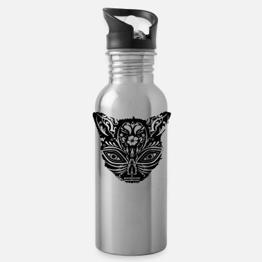 Ornament A cat's head with decorated face - Water Bottle