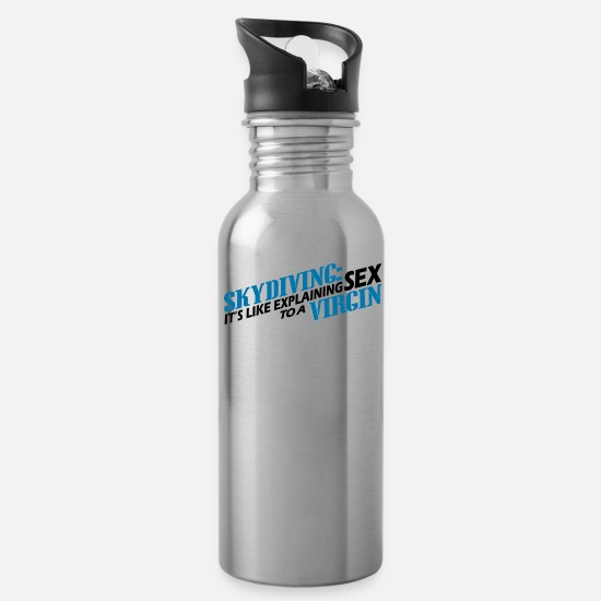 Birthday Mugs & Drinkware - Skydiving Skydive Shirt - Water Bottle silver