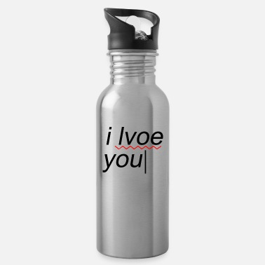 Text I love you funny mistake - Water Bottle