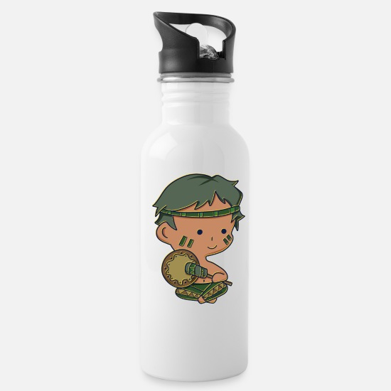 Tent Mugs & Drinkware - Kids Boys Native American Anime Manga Comic Gift - Water Bottle white