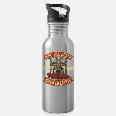 Motor Biker bike biker motorcycle chopper motorcycle - Water Bottle