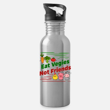 Eat Vegi Vegetarian Vegan - Eat Vegies Not Friends - Water Bottle