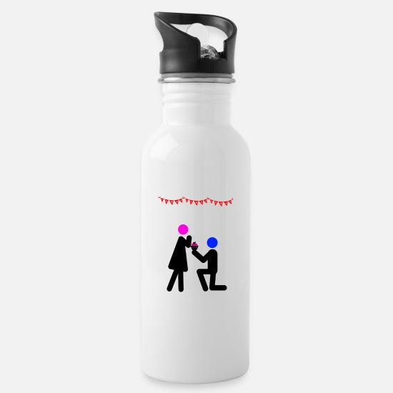 Love Mugs & Drinkware - proposal of marriage - Water Bottle white