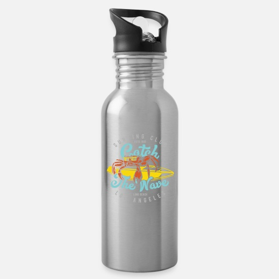 Usa Mugs & Drinkware - CATCH THE WAVE - Water Bottle silver