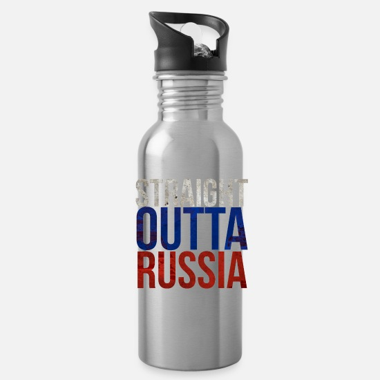 Stadium Mugs & Drinkware - Straight Outta Russia Grunge Straight out of Russi - Water Bottle silver